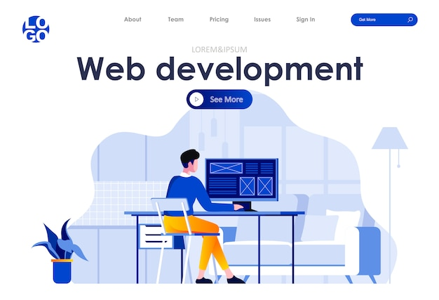 Web development flat landing page web template