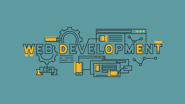 Web development flat line design