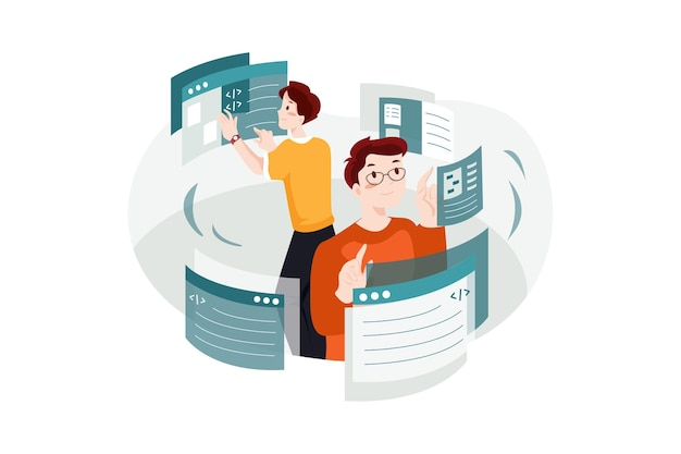 웹 개발 일러스트 컨셉