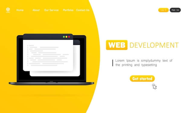 Web開発イラスト。ラップトップでの作業。分析、コーディング、プログラミング、プログラマー、開発者のためのフラットなデザインコンセプト。孤立した背景上のベクトル。 eps 10