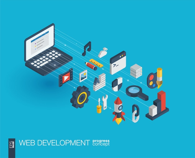 Web開発統合アイコン。デジタルネットワーク等尺性進行状況の概念。コネクテッドグラフィックライン成長システム。 seo、ウェブサイト、アプリの抽象的な背景。インフォグラフ