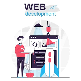 Web development isolated cartoon concept designer creates page code and optimizes site