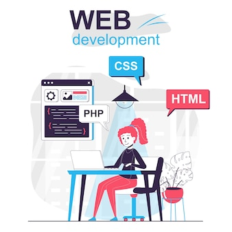 Web development isolated cartoon concept developer programs in html language in office