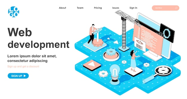 Web development isometric concept in 3d design for landing page