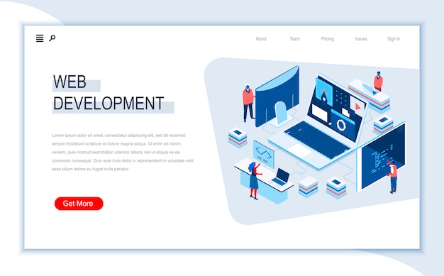 Web development isometric landing page template.