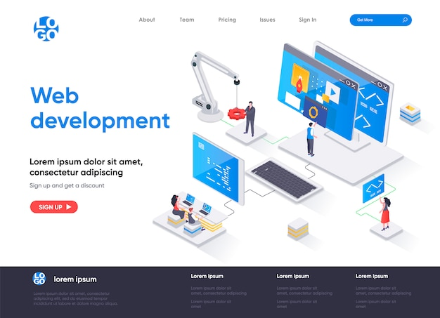 Web development isometric landing page template