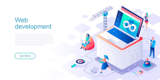 Web development isometric landing page vector template.