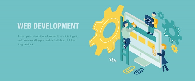 Web development isometric landing page.