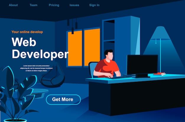 Web development isometric landing page.