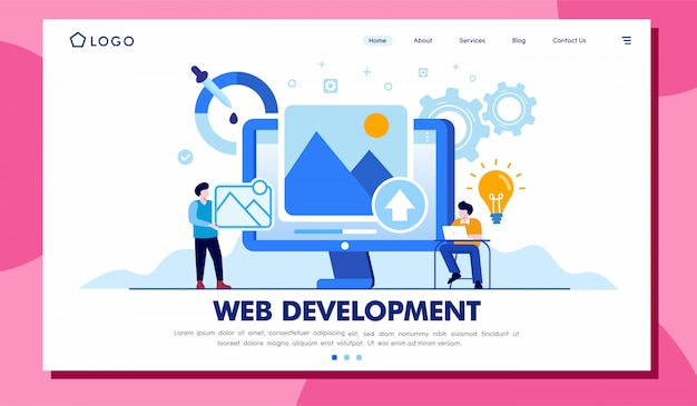 Web development landing page illustration template