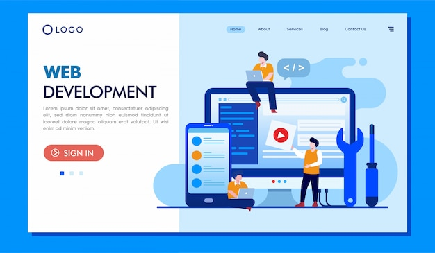 Web development landing page illustration website