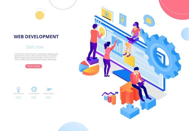 ウェブ開発ウェブサイトを作成するコンピュータの人々とのランディングページまたはホームページテンプレート
