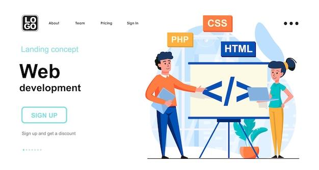 Web development landing page template flat design Premium Vector