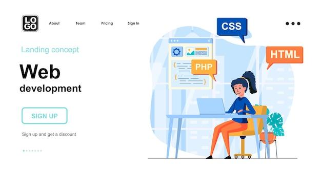 Web development landing page template flat design