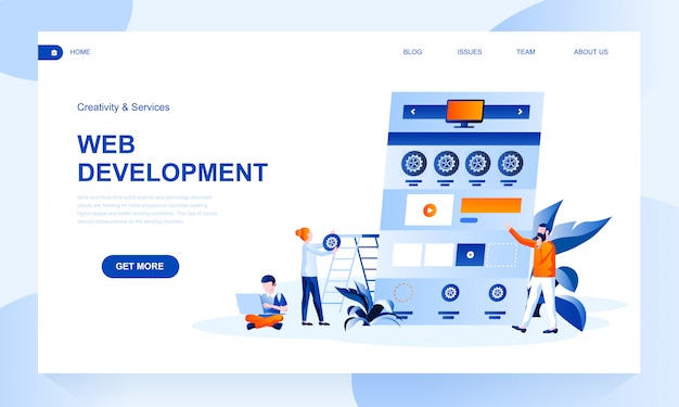 Web development landing page template with header