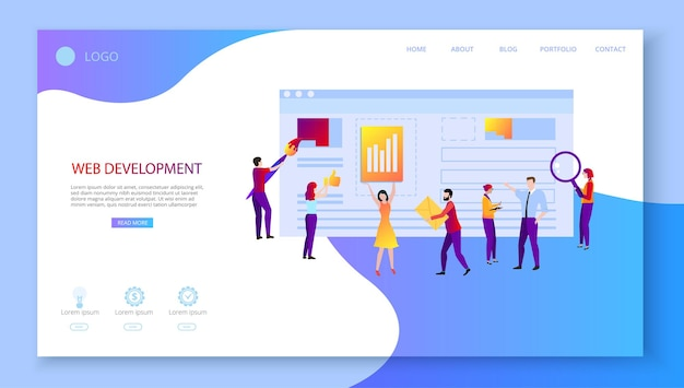 Web development landing page template with people creating website computer technologies technical support web application programming and design