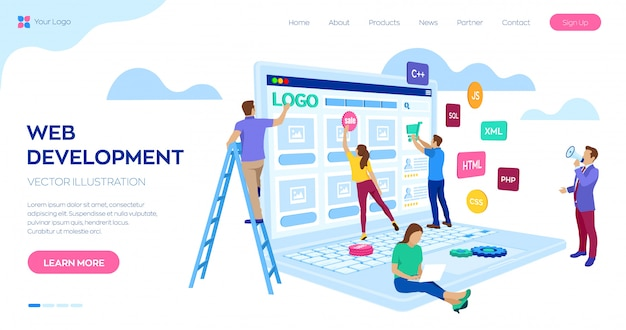 Web development landing page web template. project team of engineers for website create