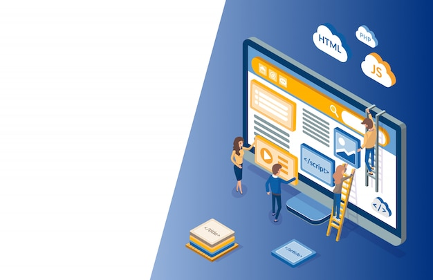 Web development, monitor and workers developers isometric illustration
