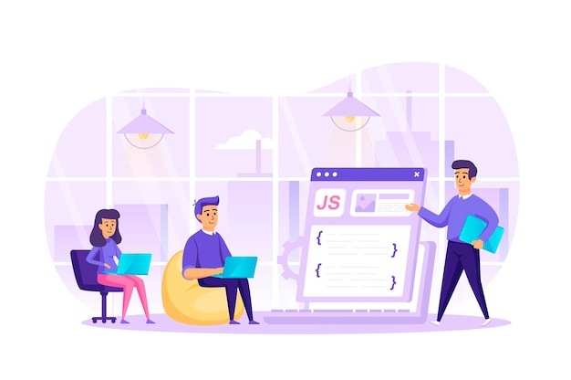 Web development at office flat design concept with people characters scene