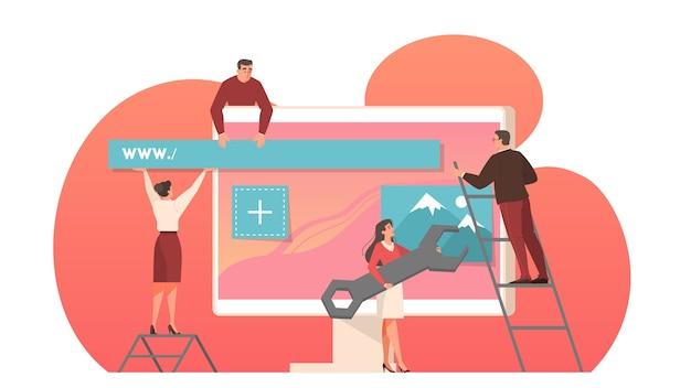컴퓨터 모니터 화면에서 웹 개발. 사람들은 인터페이스 템플릿을 구축합니다. 삽화