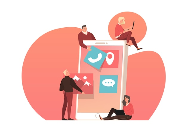 Веб-разработка на экране устройства смартфона. люди создают шаблон интерфейса. иллюстрация