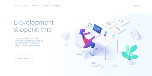 Web development and operations concept in flat design