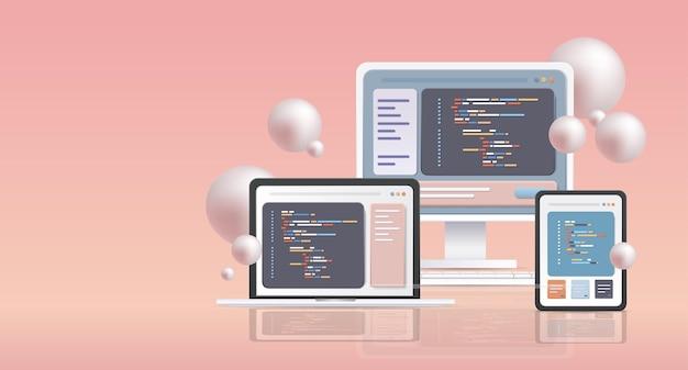 さまざまなデバイス用のweb開発プログラマーエンジニアリングコーディングwebサイトプログラミングソフトウェアアプリクロスプラットフォームコンセプト水平
