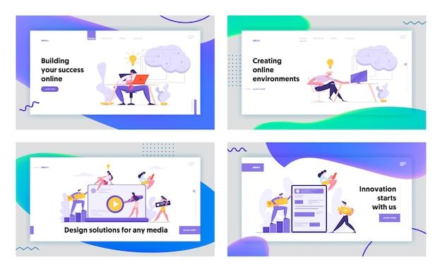 Набор целевых страниц концепции программирования и кодирования веб-разработки