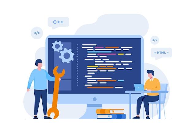 ウェブ開発。プログラミング言語。 css、html、it、ui。ウェブサイト、コーディングを開発するプログラマー漫画のキャラクター。フラットイラストバナー