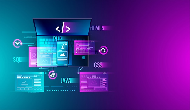 Web development and programming on laptop and smartphone