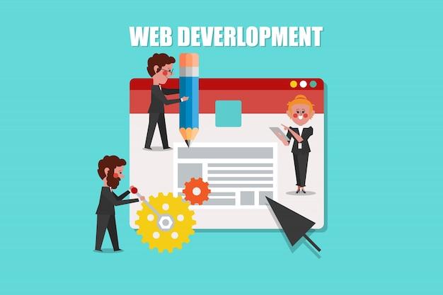 Web development, seo concept design cartoon character flat style