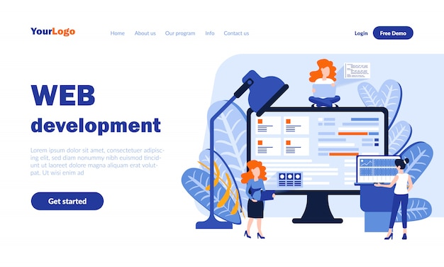 Web development vector landing page  with header