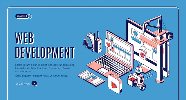 Web development, website construction landing page