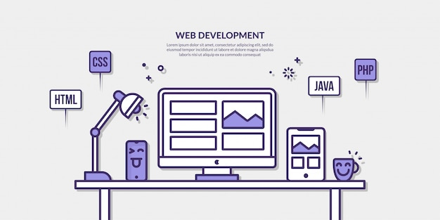 Web development with outline element on yellow