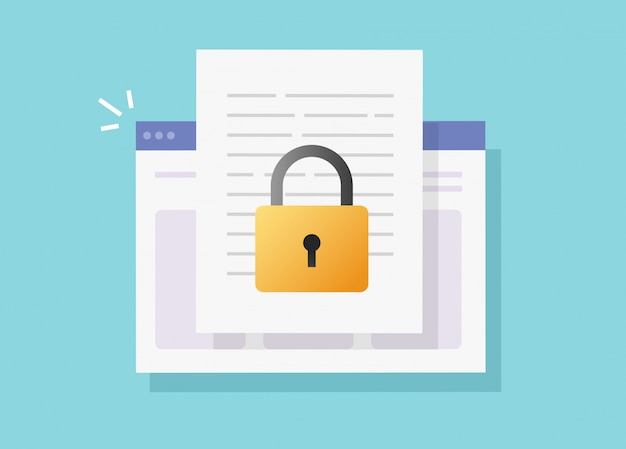 Web document secure confidential online access on internet website vector isolated or digital privacy lock protection on text file flat icon