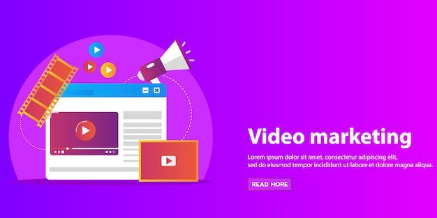 ビデオマーケティング、広告、ソーシャルメディア、webおよびモバイルアプリとサービス、eコマース、seoのための概念。
