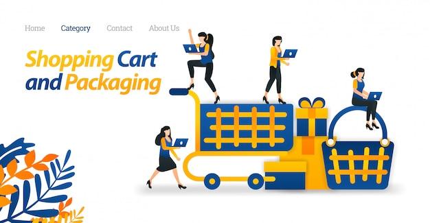 Webおよびeコマースのためのショッピングカートのデザインとランディングページwebテンプレート。買い物にトロリーとバスケットを使用する。