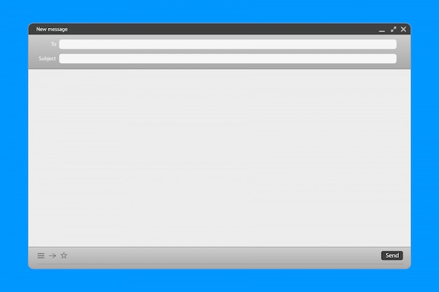 送信フォームwebパネルを備えたeメール・メッセージ・インターフェース。