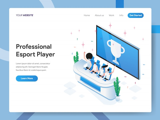Webサイトのページのプロのeスポーツプレーヤーの等角投影図