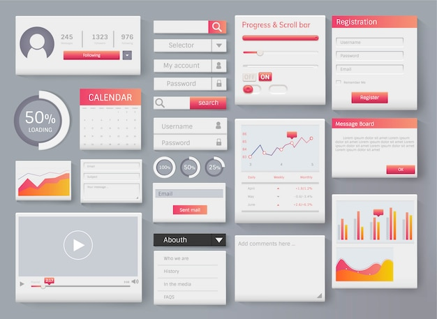 Web element layout template interface illustration