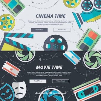 Web element with hand draw cinema accessories