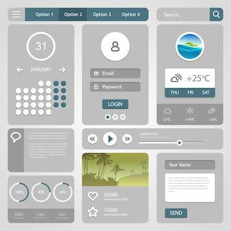 Web要素。ユーザーインターフェイスプロジェクトに使用されるさまざまな要素のセット。