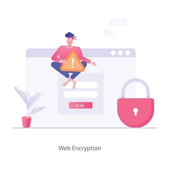 サイバーセキュリティに最適なトレンディなフラットスタイルのweb暗号化イラスト