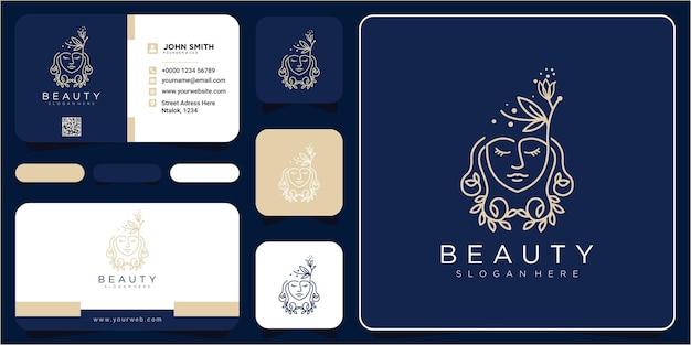 Web face beauty curly hair logo design. hair flower logo design concept with business card