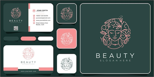 Web face beauty hair flower logo design concept. flower hair logo design inspiration logo design with business card
