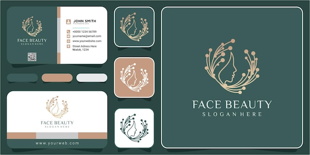 Web face beauty logo design. face connection logo design template with business card