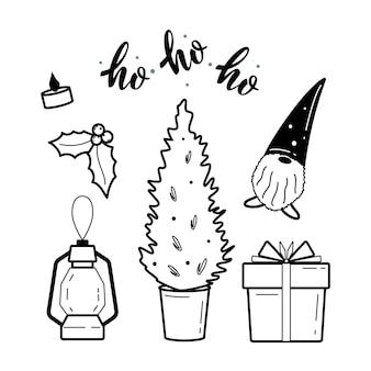 Веб-праздничное рождество и коллекция хюгге клипарт уютные элементы