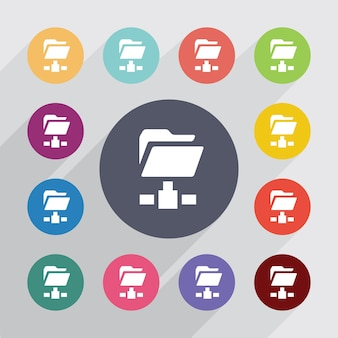 Web folder, flat icons set. round colourful buttons. vector