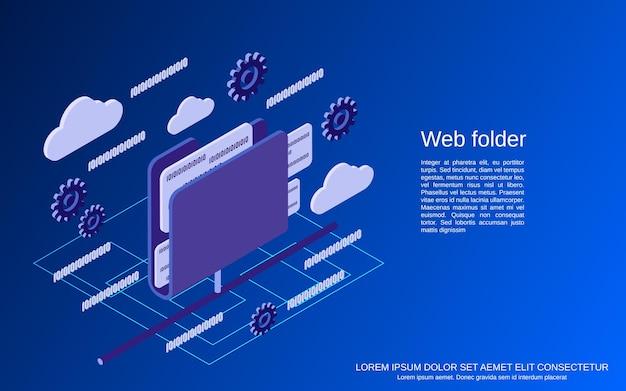 Веб-папки, сетевые плоские изометрические векторные иллюстрации концепции