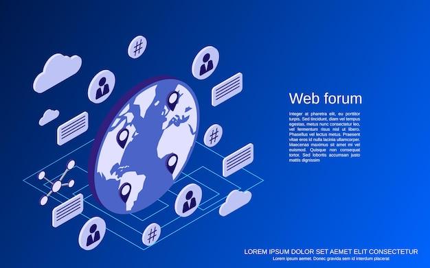 웹 포럼, 온라인 채팅, 토론 평면 아이소메트릭 벡터 개념 그림
